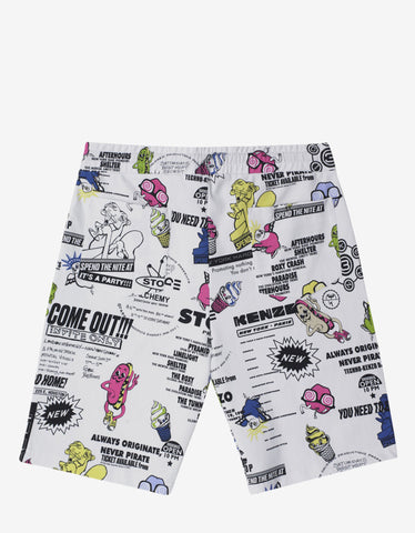 Kenzo White Cartoon Flyer Print Sweat Shorts