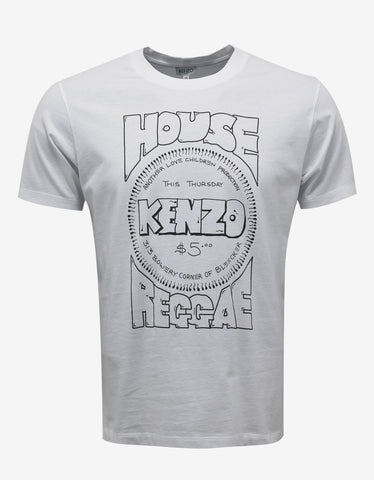 Kenzo White 'House of Reggae' Print T-Shirt