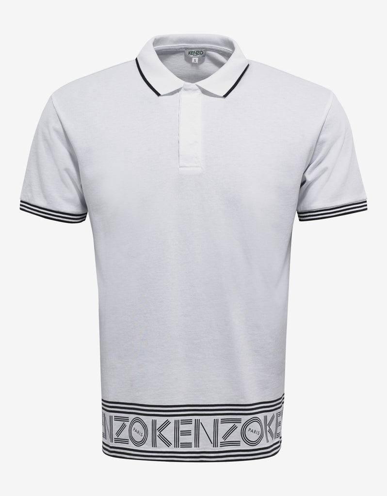 White Logo Print Polo T-Shirt