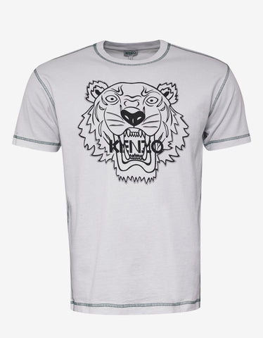 Kenzo White Tiger T-Shirt with Topstitching