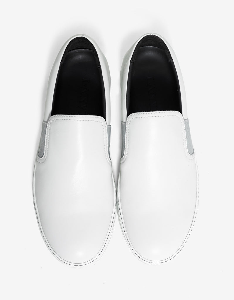 Aged White Leather Slip On Trainers