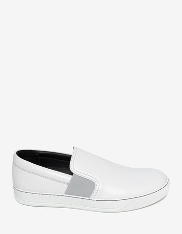 Lanvin Aged White Leather Slip On Trainers