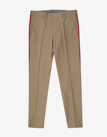 Lanvin Beige Chino Trousers with Red Trim