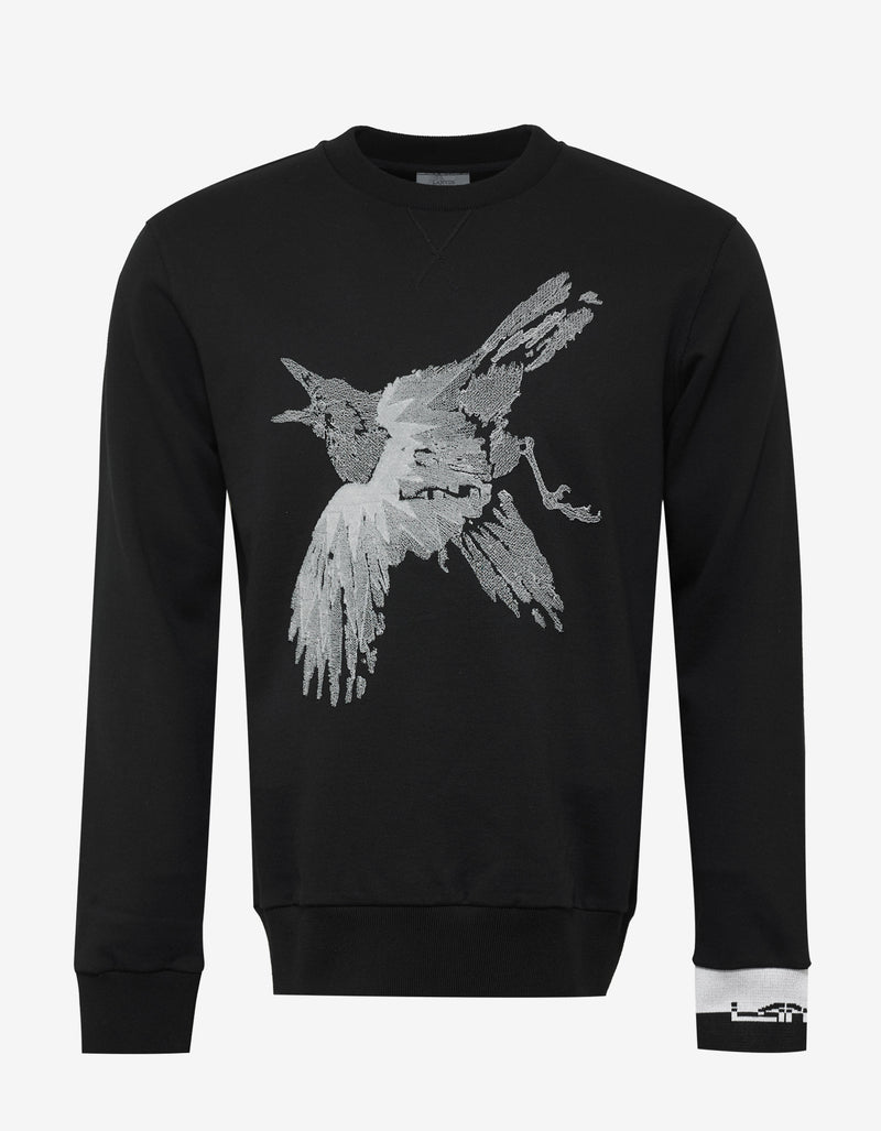 Black Bird Embroidery Sweatshirt