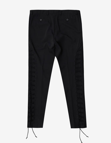 Black Cropped Trousers with Lace Detail