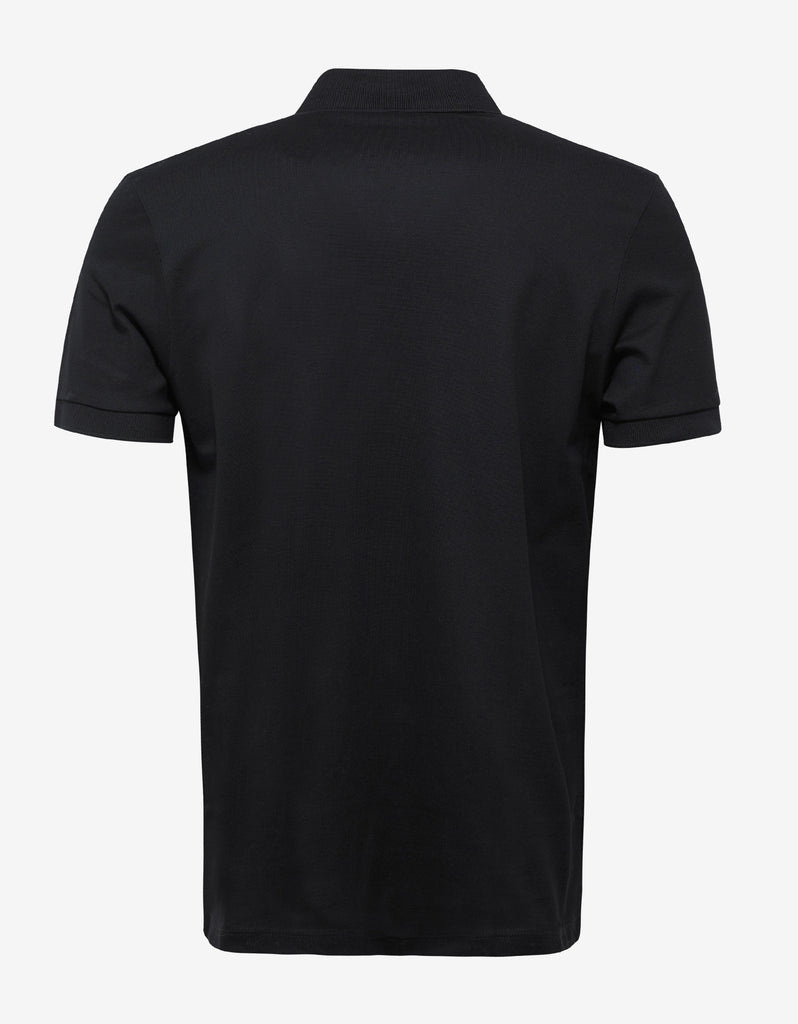 Black Polo T-Shirt with Embroidered Patches