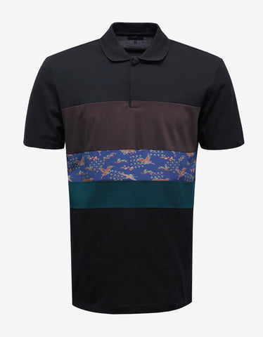 Lanvin Black Polo T-Shirt with Mix Fabric Stripes