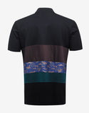 Black Polo T-Shirt with Mix Fabric Stripes