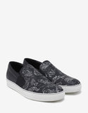 Black Slip-On Trainers with Koi Fish Print