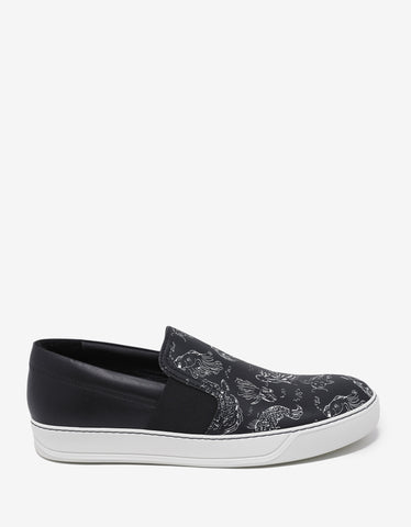 Lanvin Black Slip-On Trainers with Koi Fish Print