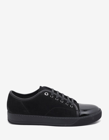 Lanvin Black Suede Leather Trainers with Patent Toe Cap