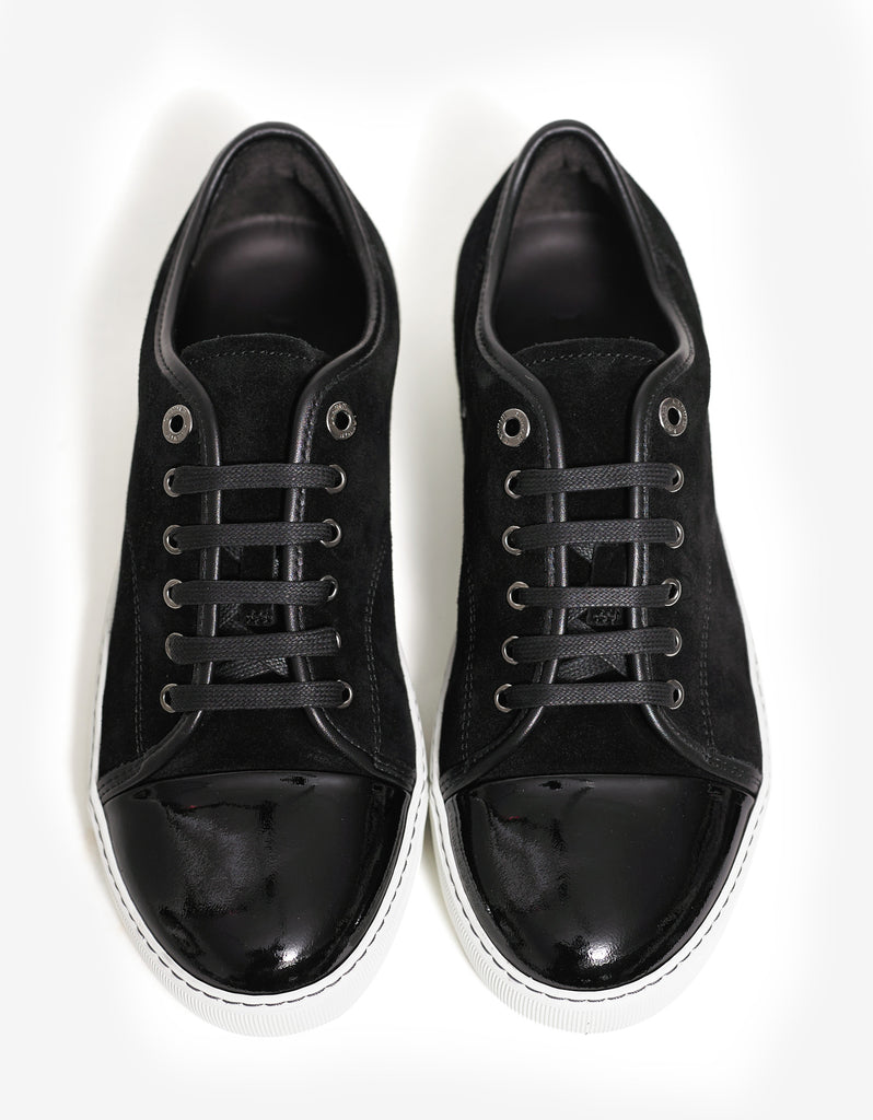 Black Suede Trainers with Patent Toe Cap