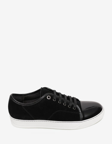 Lanvin Black Suede Trainers with Patent Toe Cap