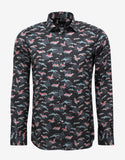 Black Crane Graphic Print Slim Fit Shirt