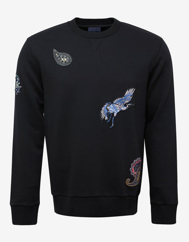 Lanvin Black Sweatshirt with Embroidered Patches