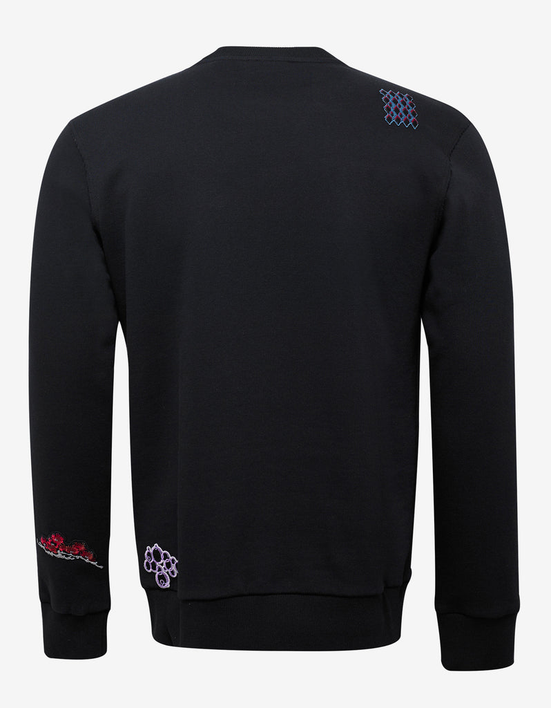 Black Sweatshirt with Embroidered Patches