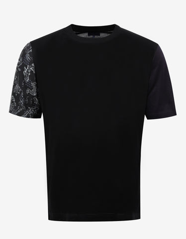 Lanvin Black T-Shirt with Contrast Sleeves