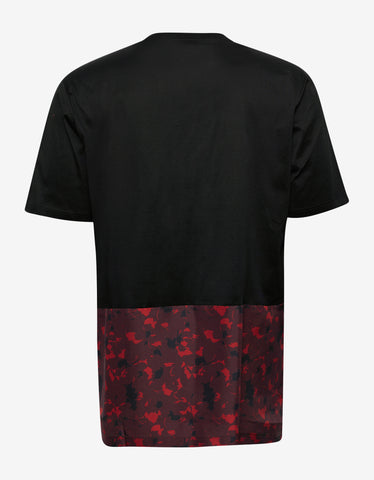 Lanvin Black T-Shirt with Floral Silk Panel