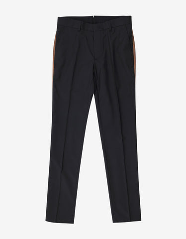 Lanvin Black Wool Chino Trousers with Brown Trim
