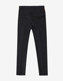 Black Wool Chino Trousers with Brown Trim