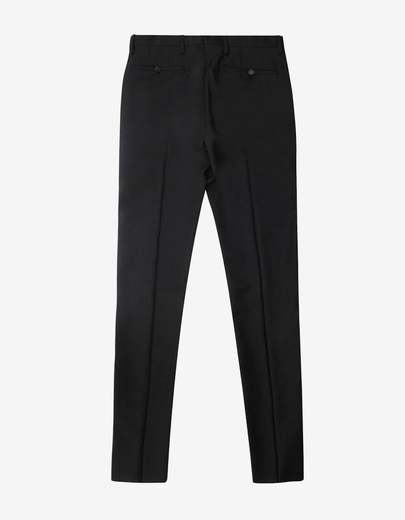 Black Wool Trousers with Stitch Detail