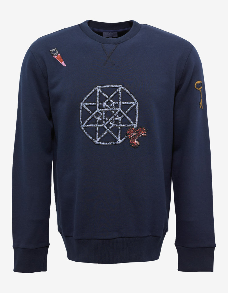 Blue Graphic Embroidery Sweatshirt