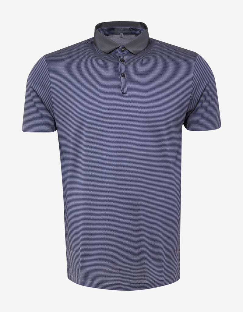 Blue & Grey Stripe Grosgrain Collar Polo T-Shirt