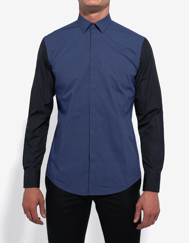 Lanvin Blue Micro Check Shirt with Contrast Sleeves