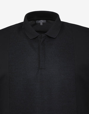 Blue Polo T-Shirt with Tonal Wool Panel -