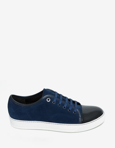 Lanvin Blue Suede Trainers with Patent Toe Cap