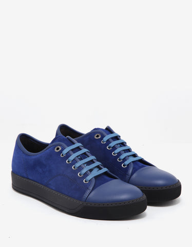 Lanvin Ink Blue Suede Trainers with Leather Toe Cap