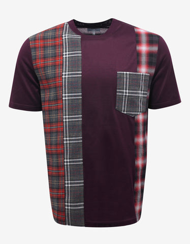 Lanvin Bordeaux Patchwork Check T-Shirt