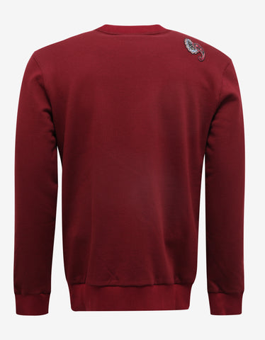 Lanvin Bordeaux Sweatshirt with Embroidered Patches