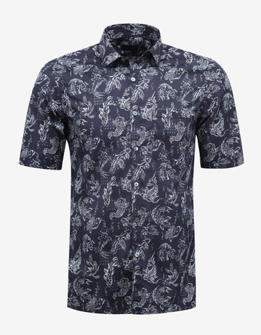 Lanvin Dark Blue Koi Fish Print Short Sleeve Shirt
