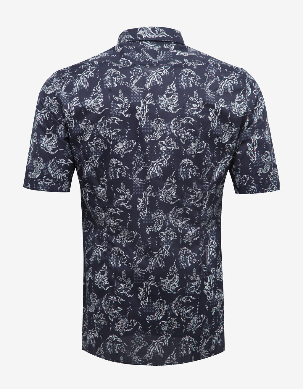 Dark Blue Koi Fish Print Short Sleeve Shirt