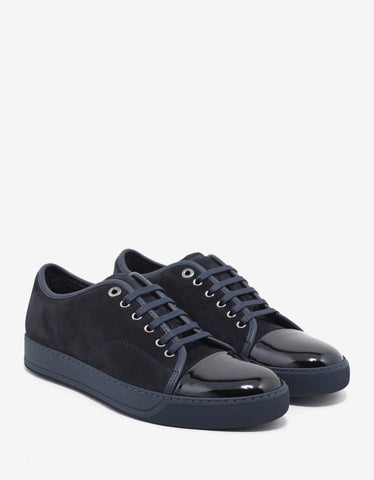 Lanvin Dark Blue Suede Leather Trainers with Patent Toe Cap