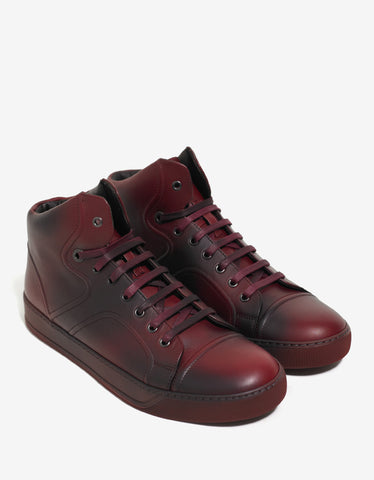 Lanvin Red Mid Top Trainers with Spray