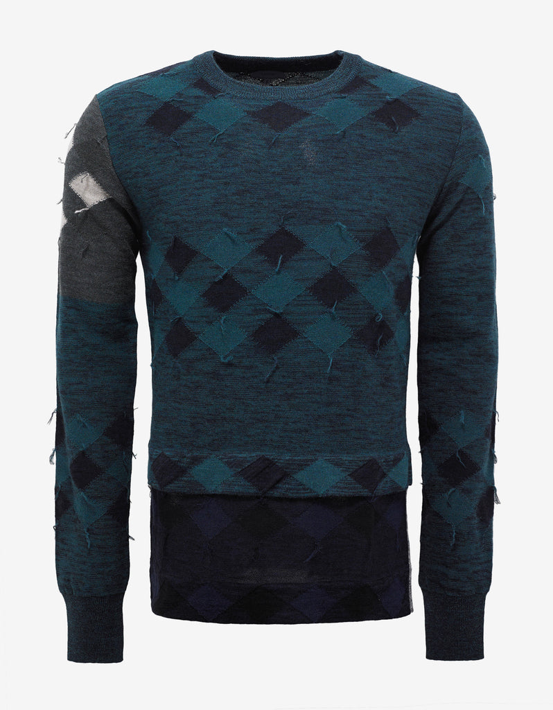 Green Patchwork Wool Sweater