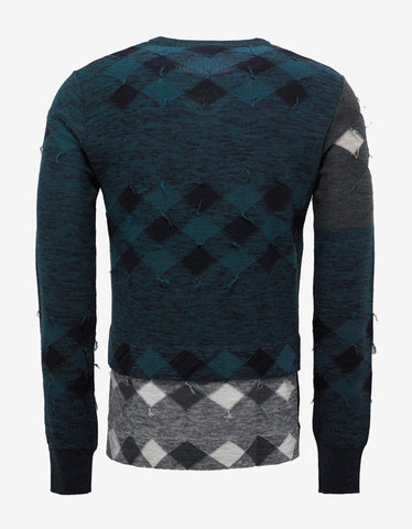 Lanvin Green Patchwork Wool Sweater