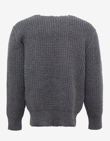 Lanvin Grey Military Stitch Wool Sweater