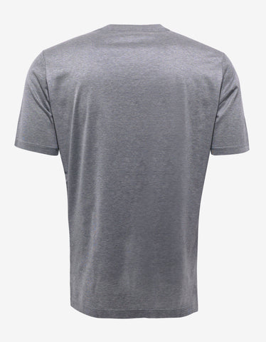 Lanvin Grey T-Shirt with Tartan Wool Panel