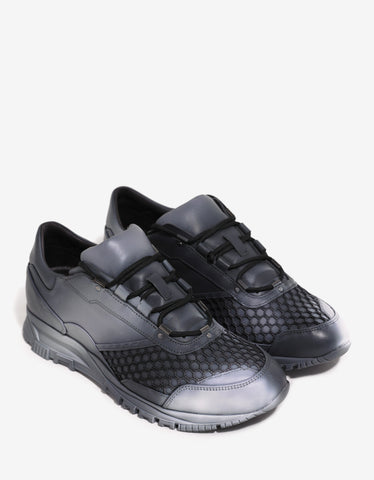 Lanvin Grey Running Trainers with Fishnet Panel