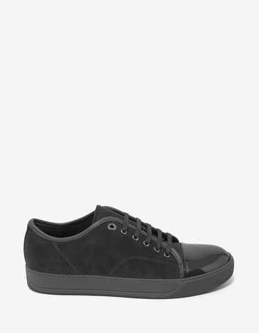 Lanvin Grey Suede Leather Trainers with Patent Toe Cap