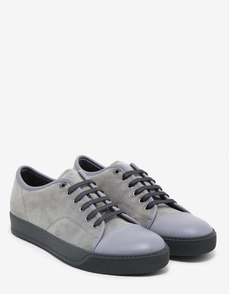 Concrete Grey Suede Trainers with Leather Toe Cap