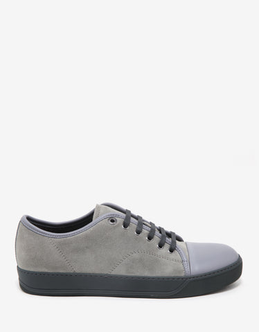 Lanvin Concrete Grey Suede Trainers with Leather Toe Cap