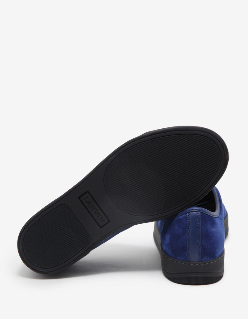 Ink Blue Suede Trainers with Leather Toe Cap