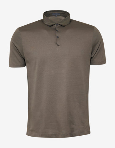 Lanvin Khaki Polo T-Shirt with Grosgrain Collar