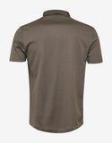 Khaki Polo T-Shirt with Grosgrain Collar