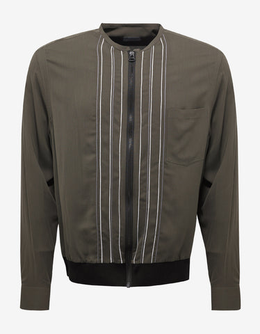 Lanvin Khaki Shirt Jacket with Embroidery