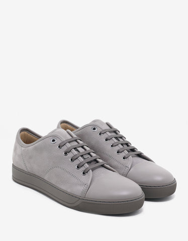 Lanvin Light Grey Grain Leather Trainers with Leather Toe Cap